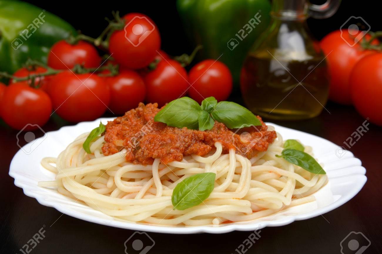 Spaghetti Ragu Alla Bolognese Sauce On Black Background Stock Photo