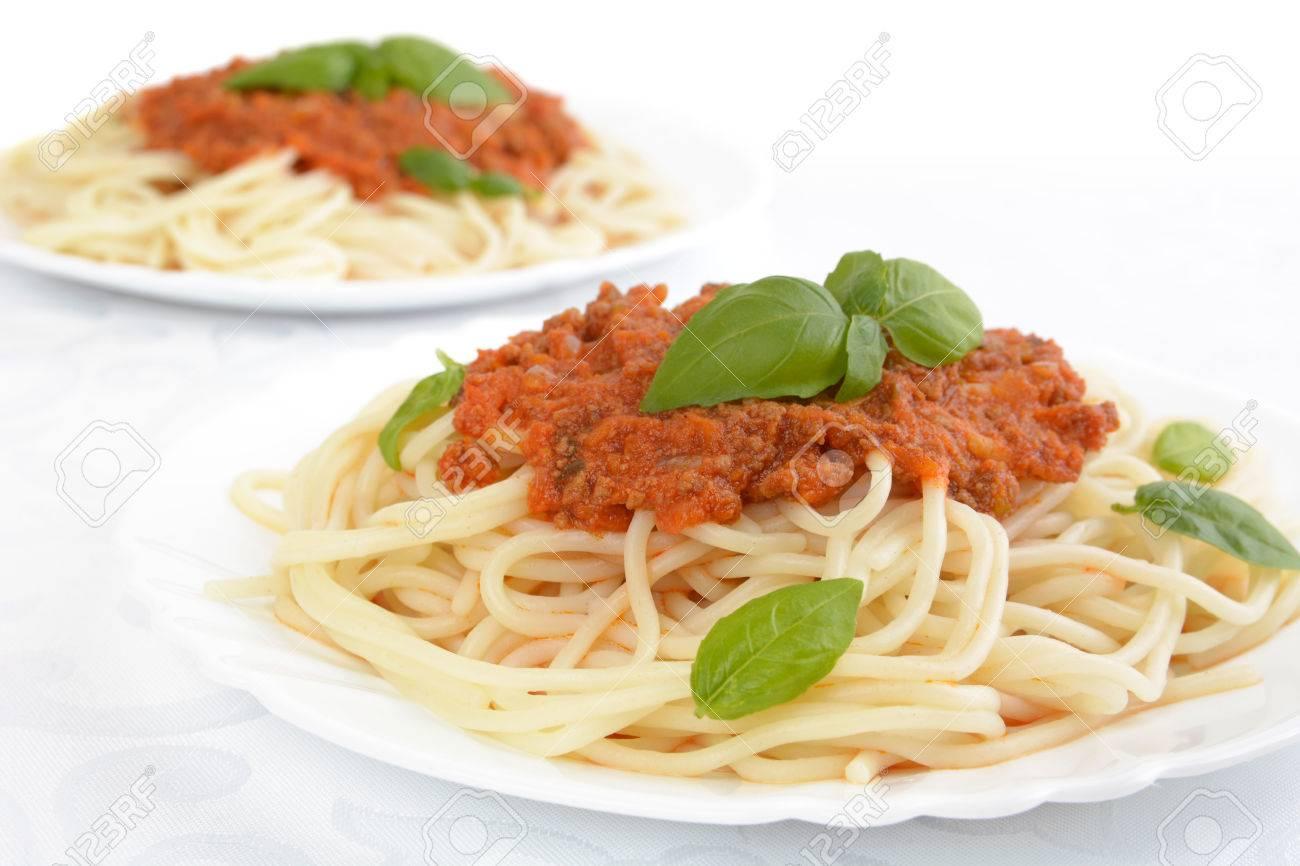 Spaghetti Ragu Alla Bolognese Sauce On White Background Stock Photo
