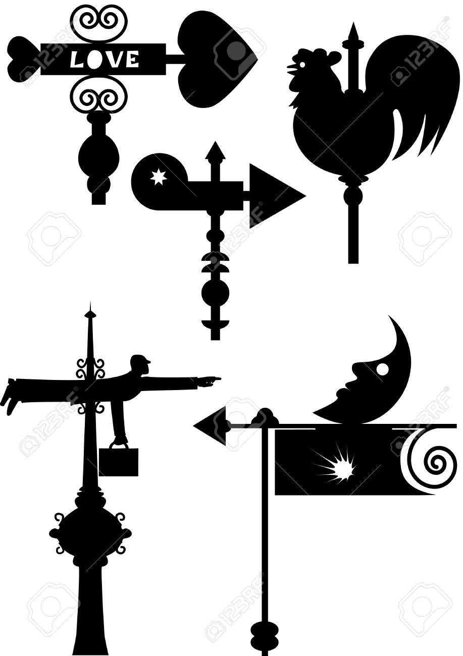 sillouhet humorous windy weathercock having various shapes Stock Vector - 4990228