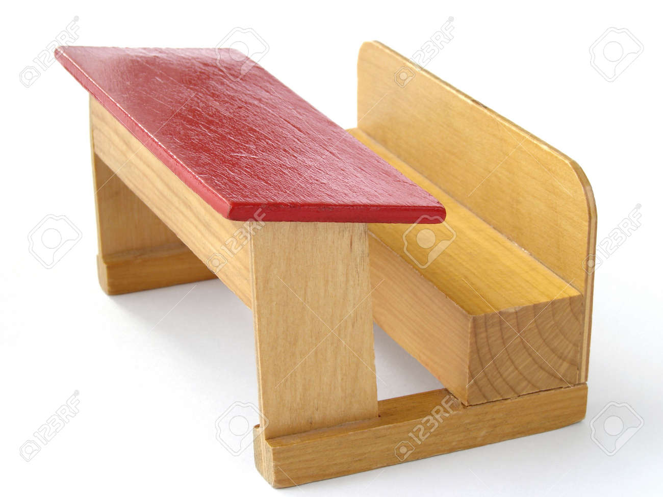 Old Style School Desk Wooden Toy Model Stock Photo, Picture And ...