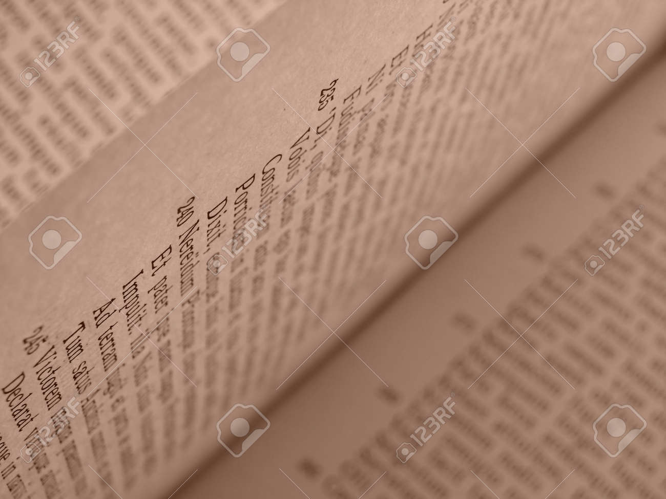 sepia toned open book pages with ancient latin text of Aeneid by Virgil Stock Photo - 5521869