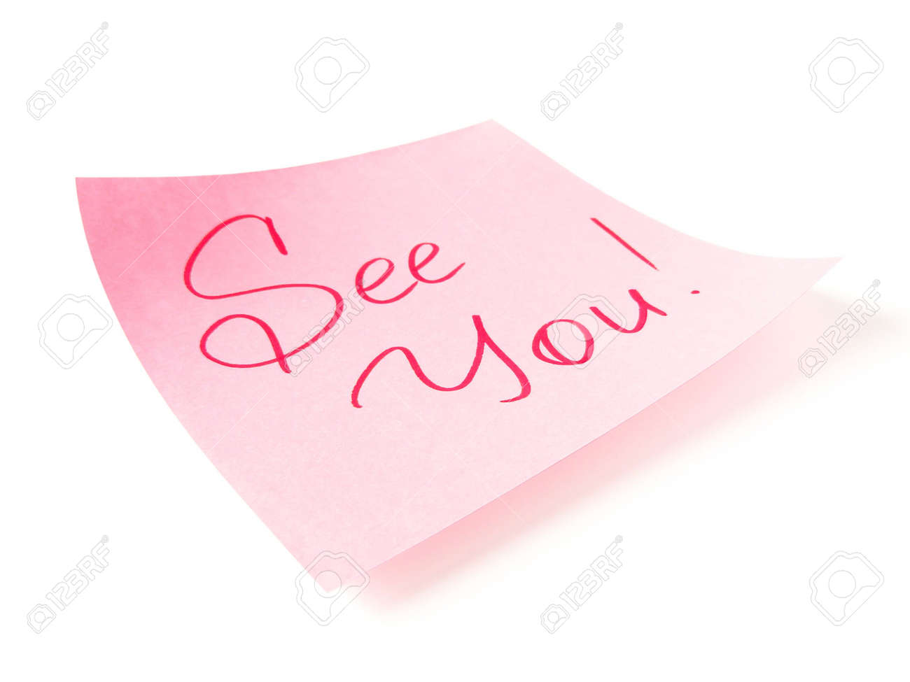 See you handwritten message on pink sticker Stock Photo - 5904605