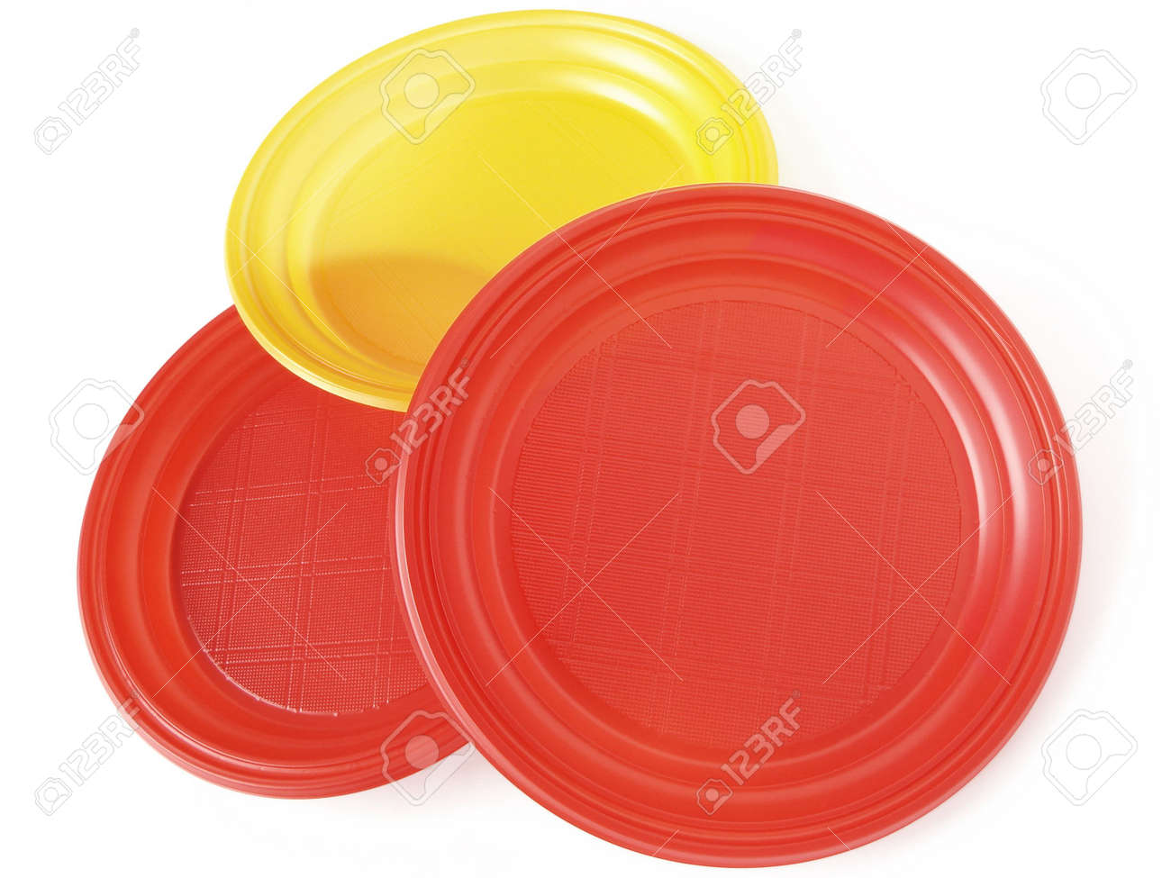 colorful disposable plates on white Stock Photo - 6479629  sc 1 st  123RF.com & Colorful Disposable Plates On White Stock Photo Picture And Royalty ...