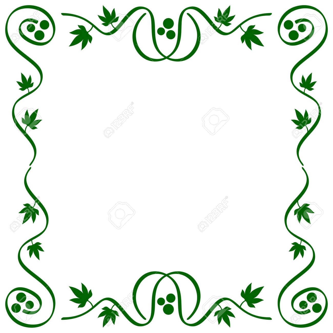 Abstrakte Ornamentale Stilisierten Reben Rahmen Mit Blättern Und ...