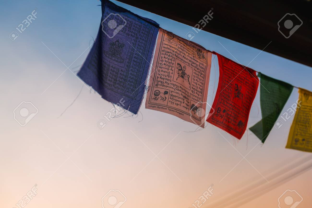 Tibetan-himalayan buddhist mantra prayer flag for good luck charm