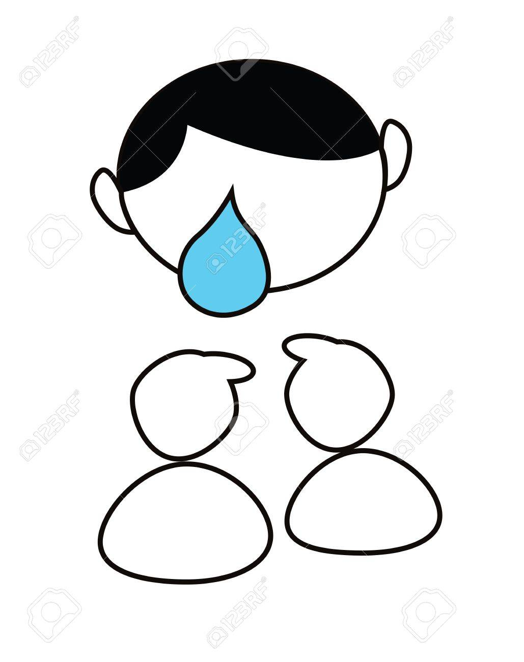 cartoon boy crying isolated on white Stock Vector - 13747237