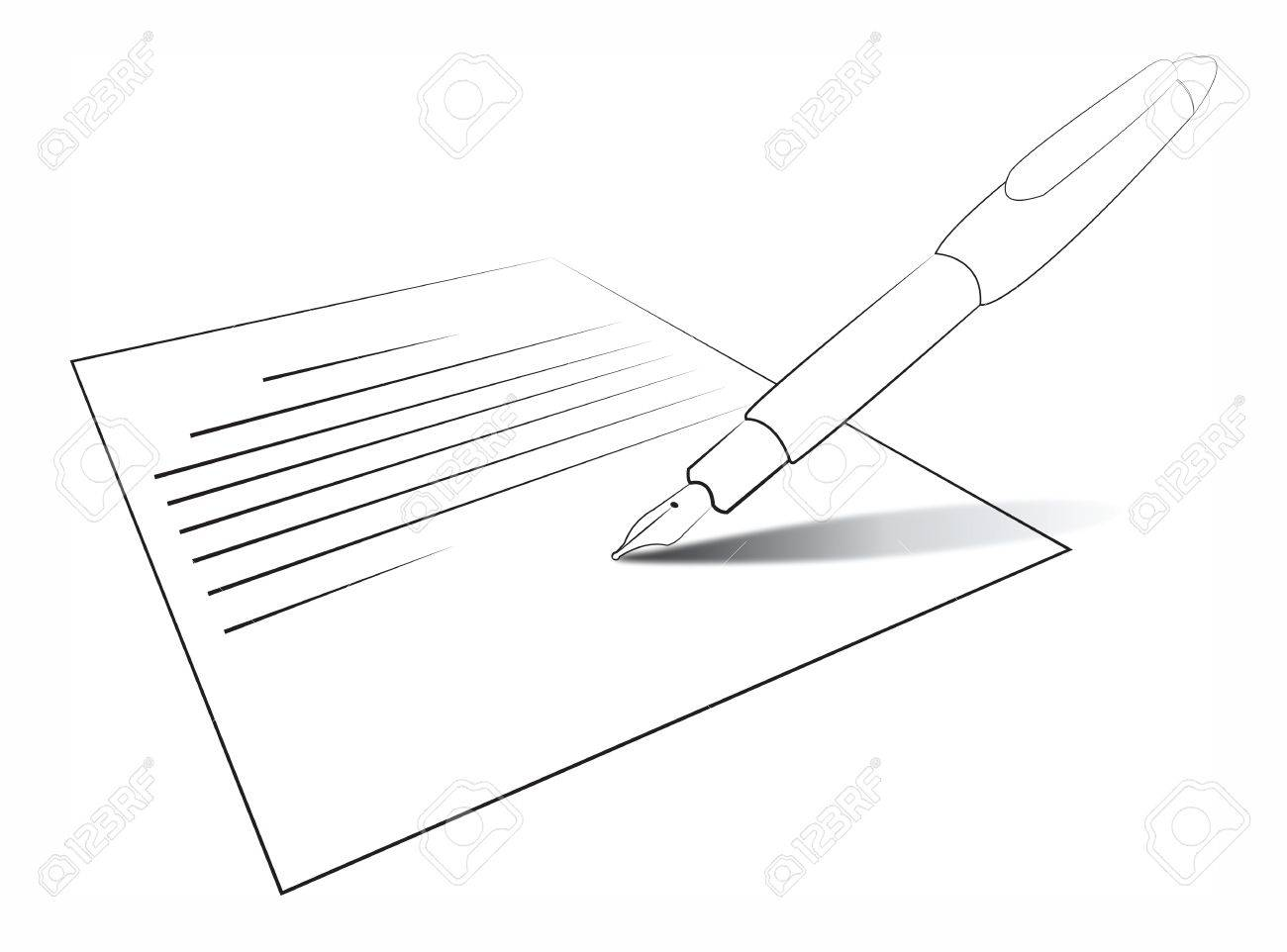 Composition with letter and pen  Writing Stock Vector - 13754265