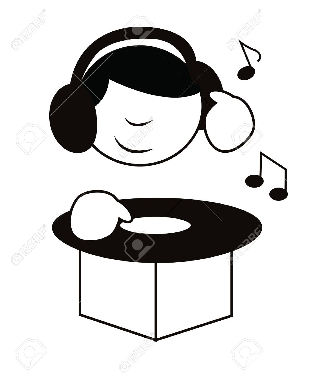 Funny cartoon dj playing music isolated on white Stock Vector - 13775352