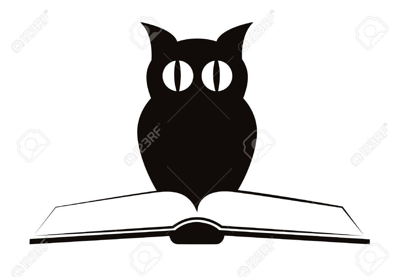 """La Chouette Symbole image de la chouette et livre """", symbole de la sagesse & quot, isolé"""