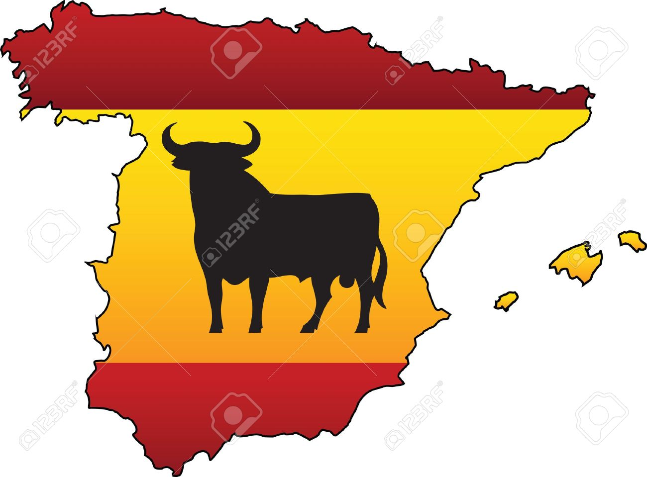 Spanish Flag Country Silhouette and Symbol Combination Stock Vector - 19846254
