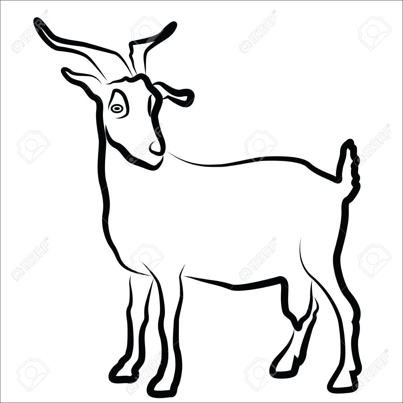 Goat silhouette isolated on white Stock Vector - 20085712