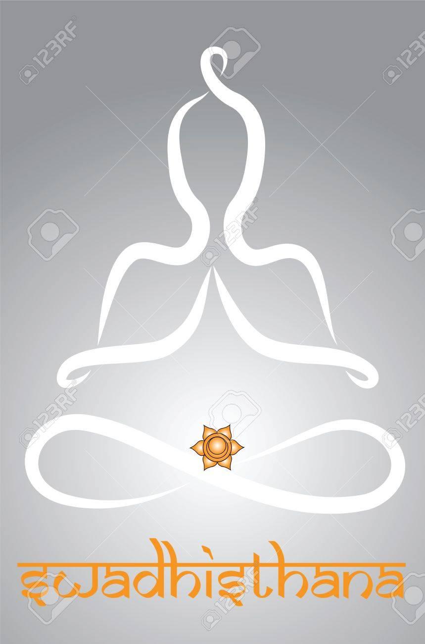 Symbolic yogi with Swadhisthana chakra representation Stock Vector - 20085732