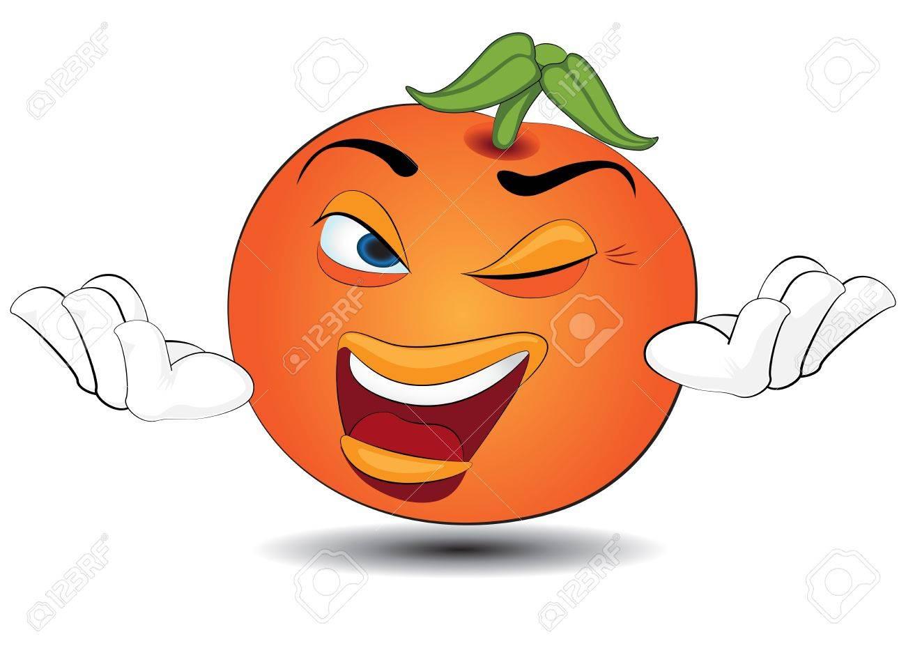 Cartoon orange welcome Stock Vector - 21214354