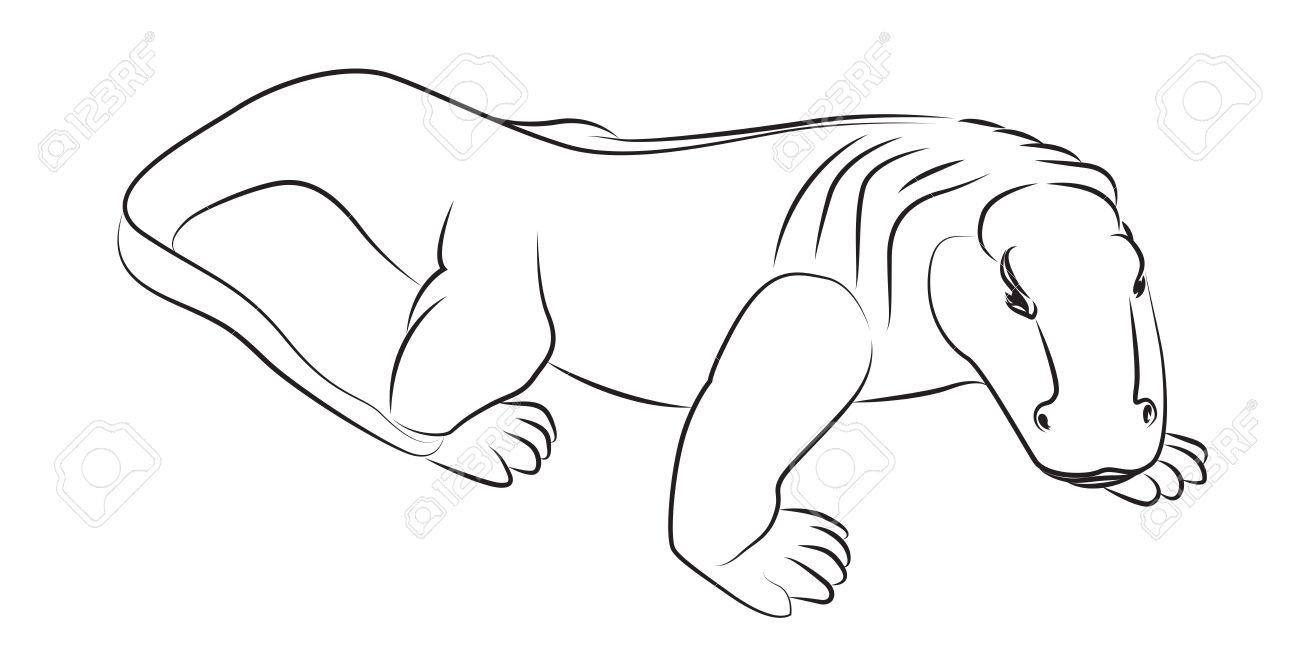 Dragón De Komodo Ilustraciones Vectoriales, Clip Art Vectorizado ...
