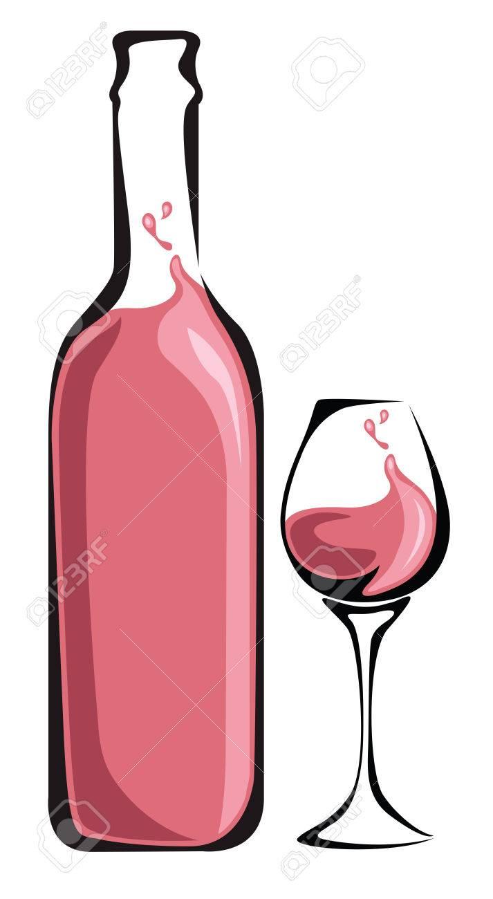 Bouteille Vin rosé et verre