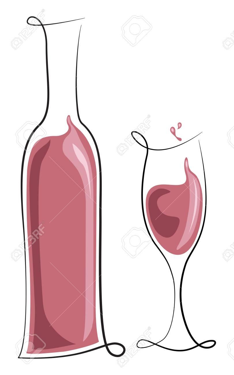 Bouteille de vin rosé et de verre
