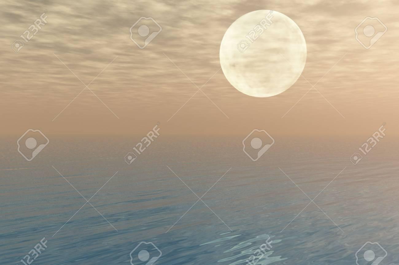 Moon over the Sea Stock Photo - 3684907