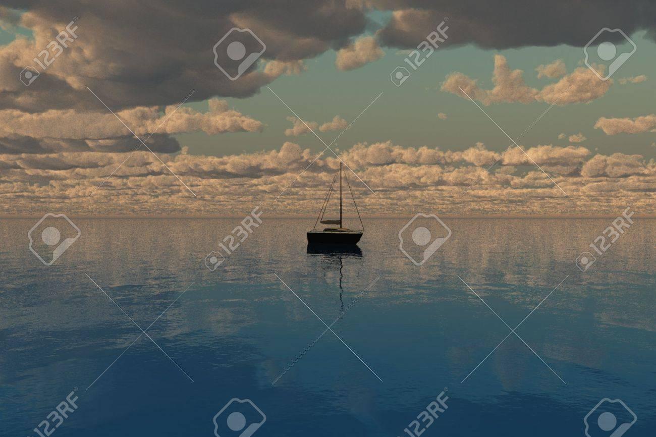 Ship sailing toward the horizon with sea and clouds. Stock Photo - 4686906