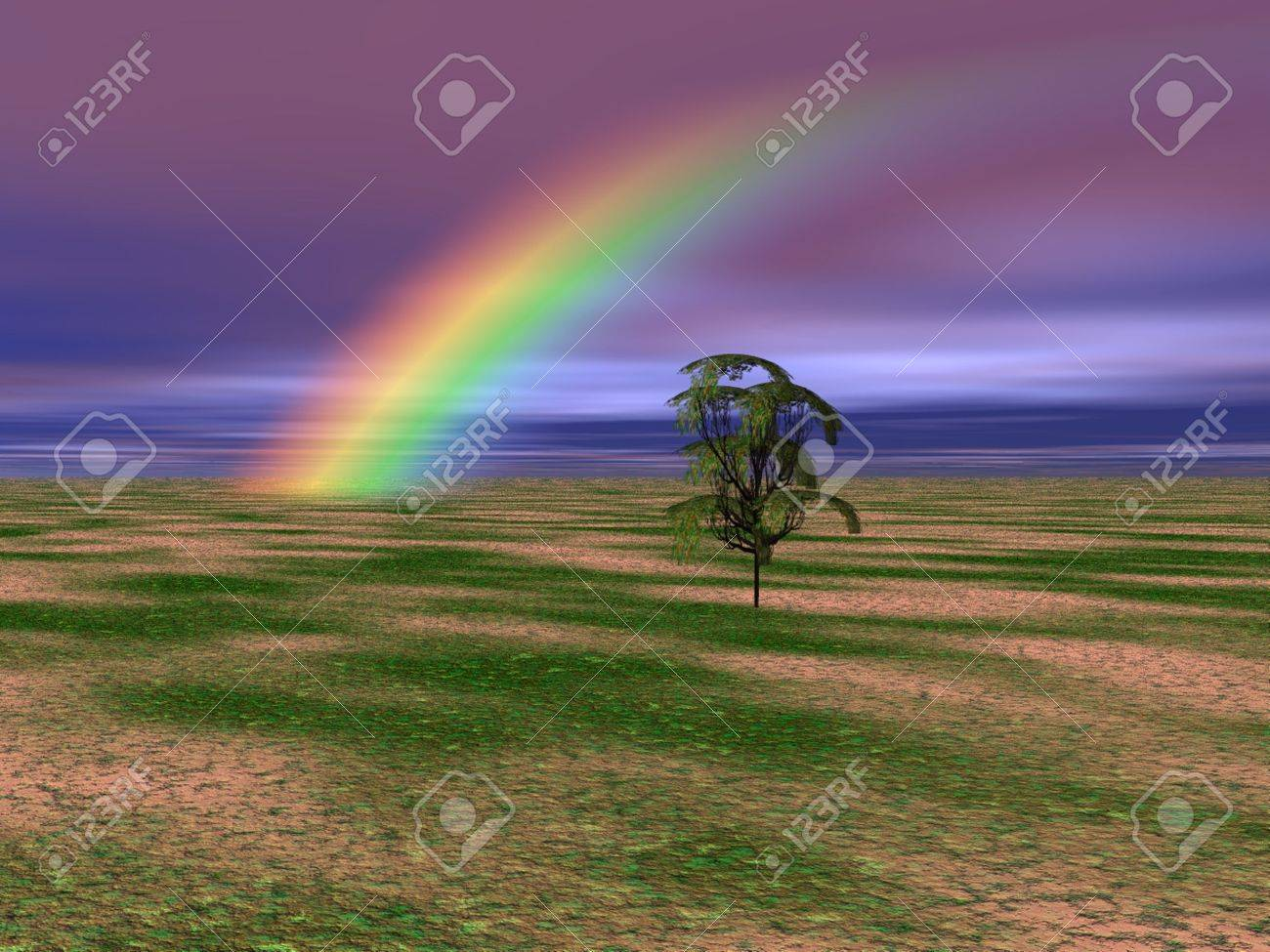 Solitary tree with a brilliant rainbow in the background of this landscape. Stock Photo - 4808943