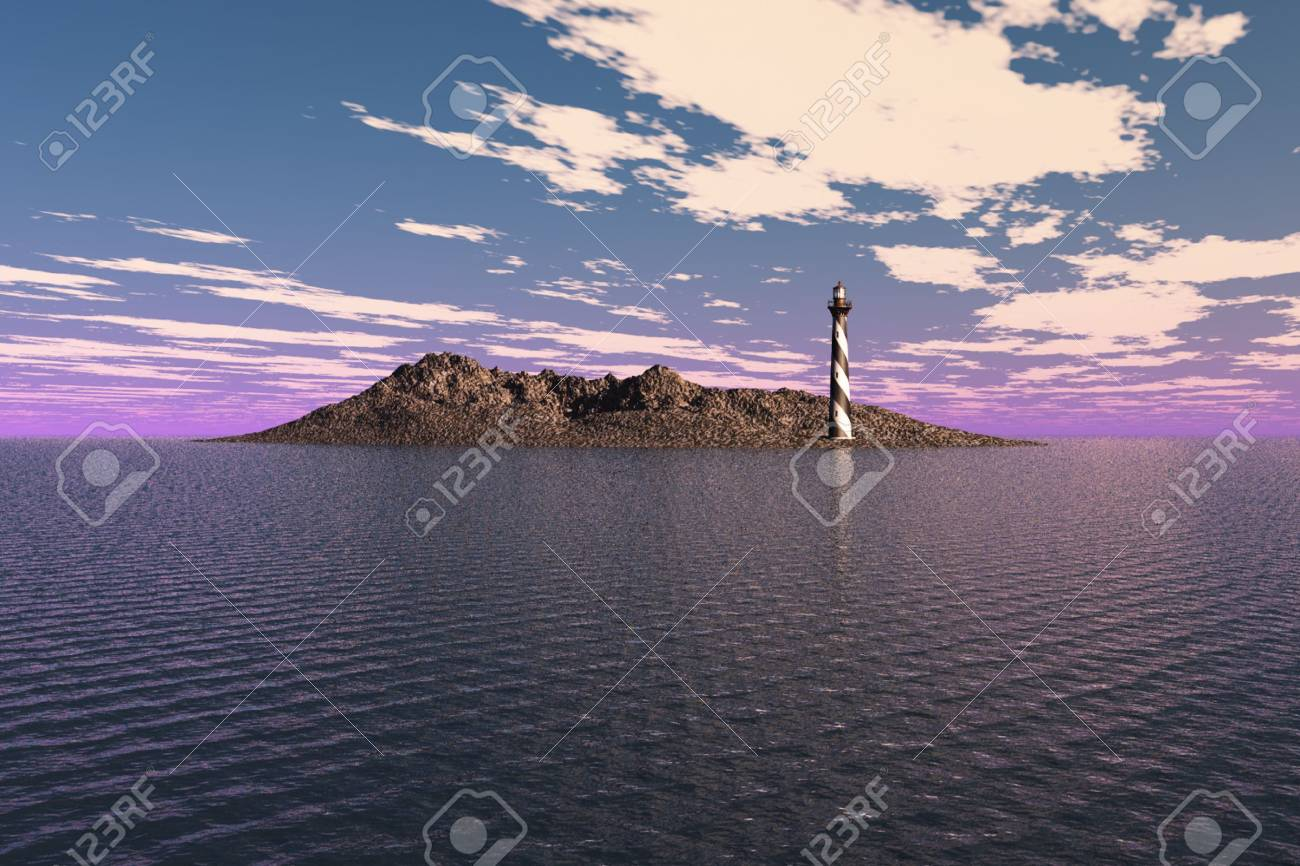 Lighthouse on a barren island in the sea. Stock Photo - 4942774