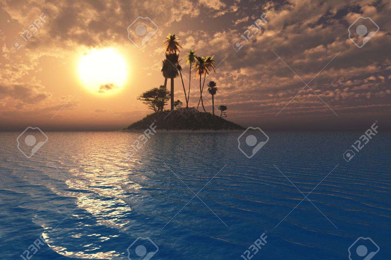 Surreal tropical setting with vibrant sunset and sea over an island. Stock Photo - 4942907