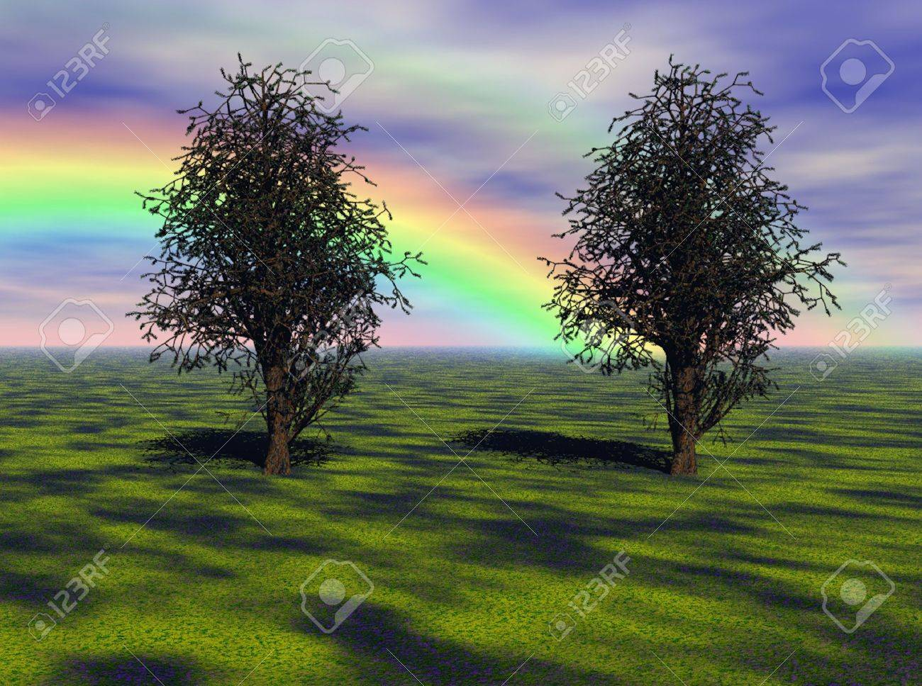 Vibrant rainbow over a meadow and maple trees. Stock Photo - 5036089