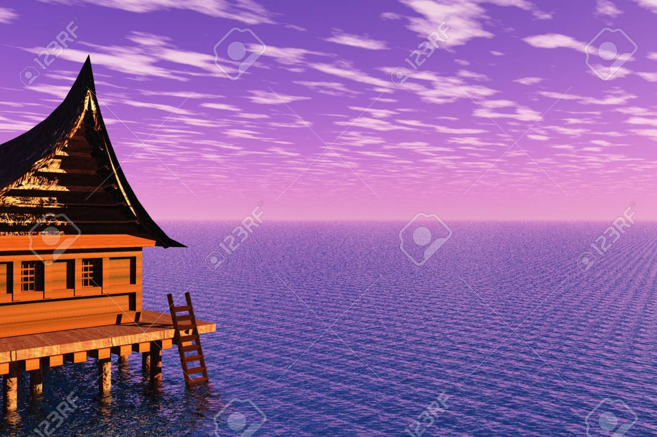 Nice house on the edge of the ocean. Stock Photo - 6441093