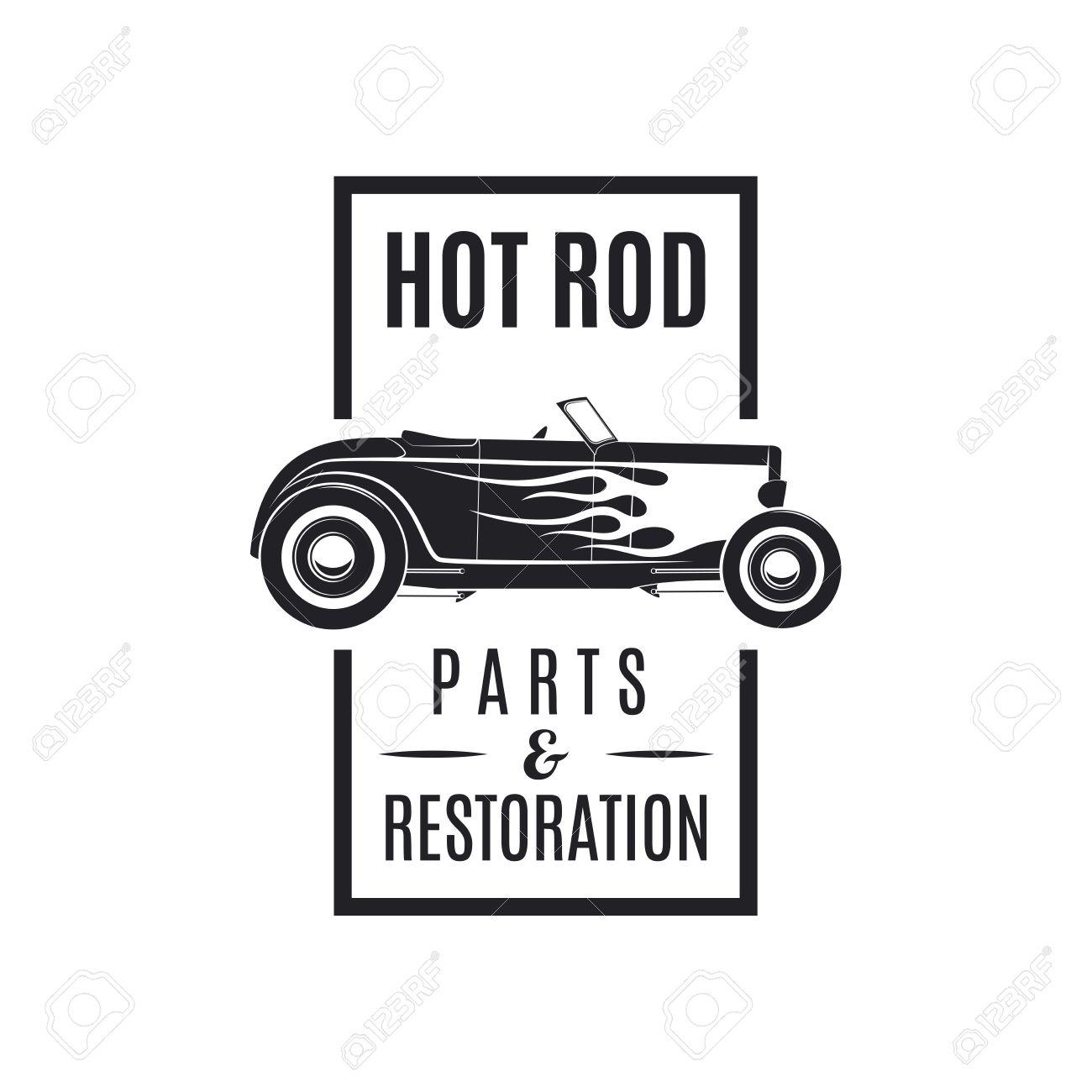 Vintage Vecor Hot Rod Icon. Hot Rod Parts Restoration. Royalty ...