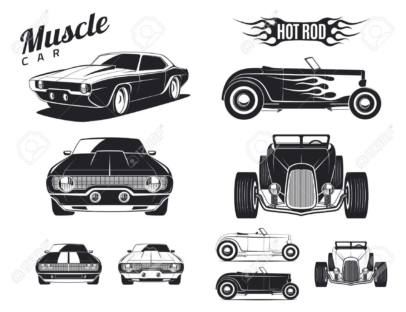 Set Of Muscle Car And Hot Rod Tamplates For Icons And Emblems