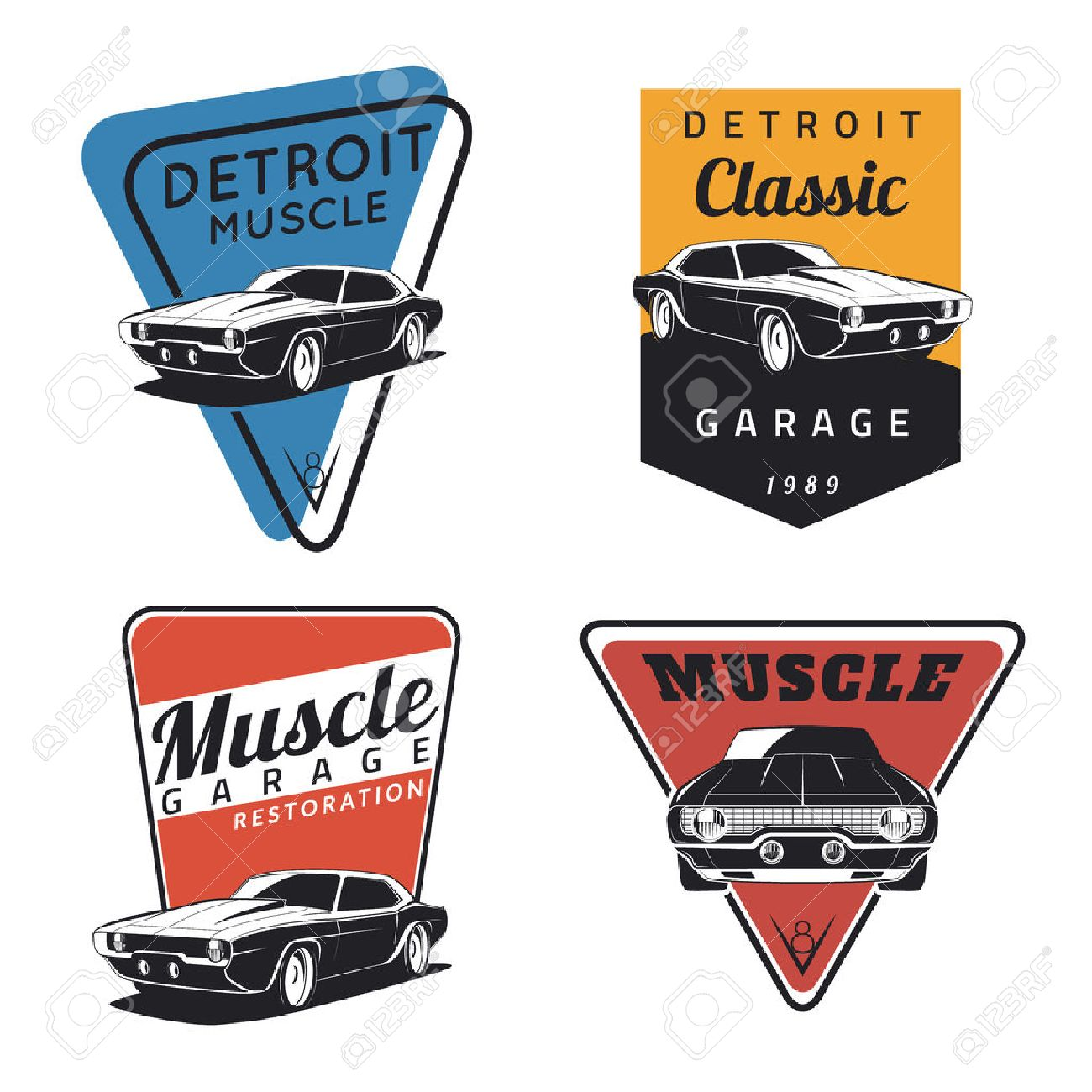 Set Of Classic Muscle Car Emblems Badges And Icons Service - Muscle car repair