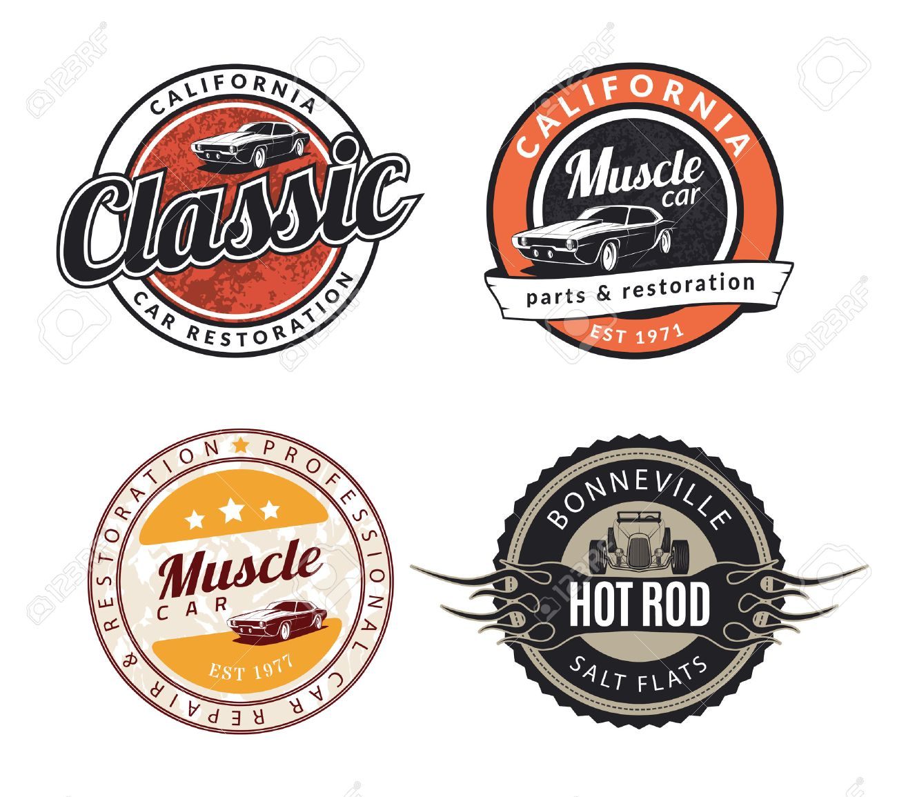 Set Of Classic Muscle Car Emblems Badges And Signs Service - Muscle car repair
