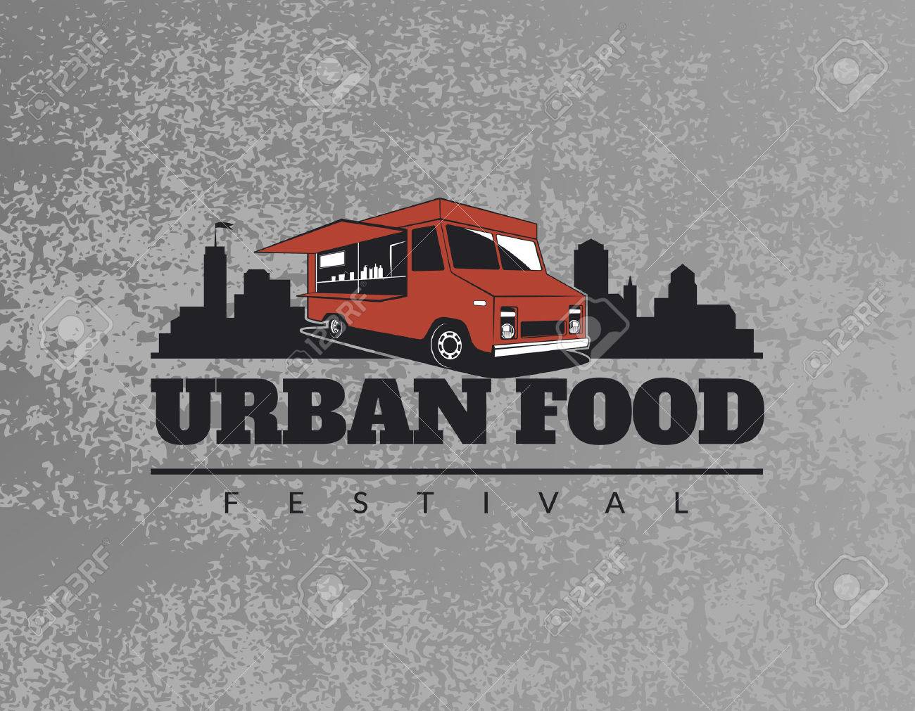 Food truck emblem on grunge grey background. Urban, street food illustrations and graphics. Stock Vector - 47713234