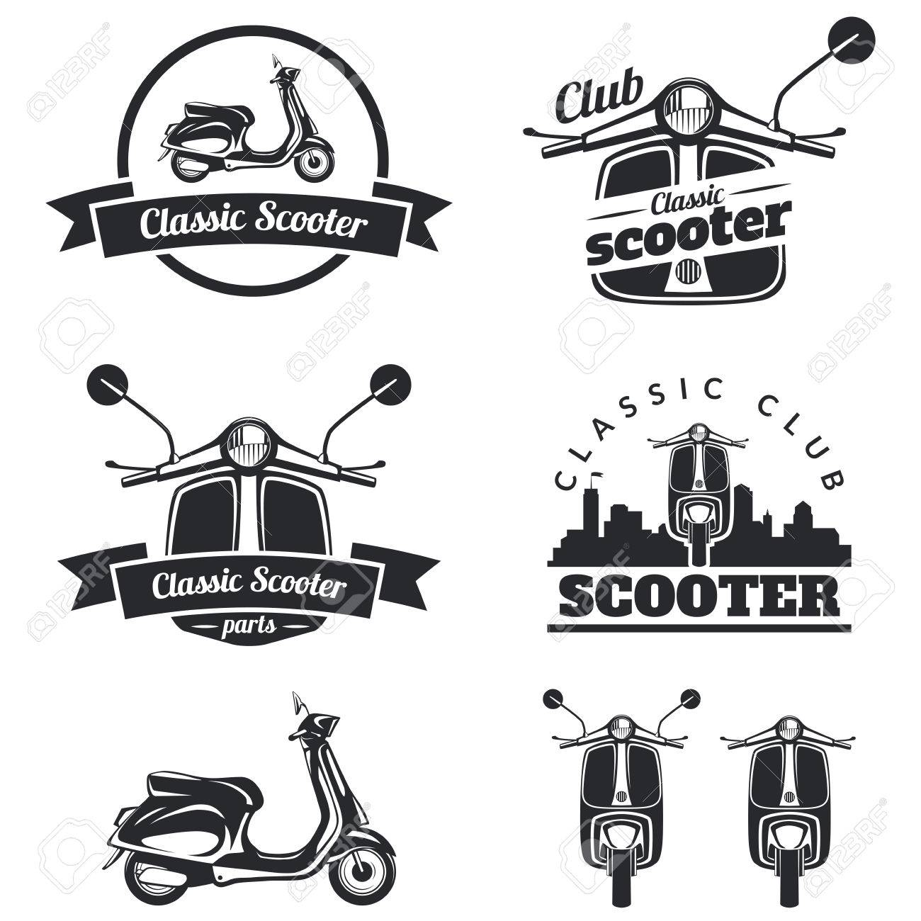 set of classic scooter emblems icons and badges urban street royalty free cliparts vectors and stock illustration image 47713233 123rf com