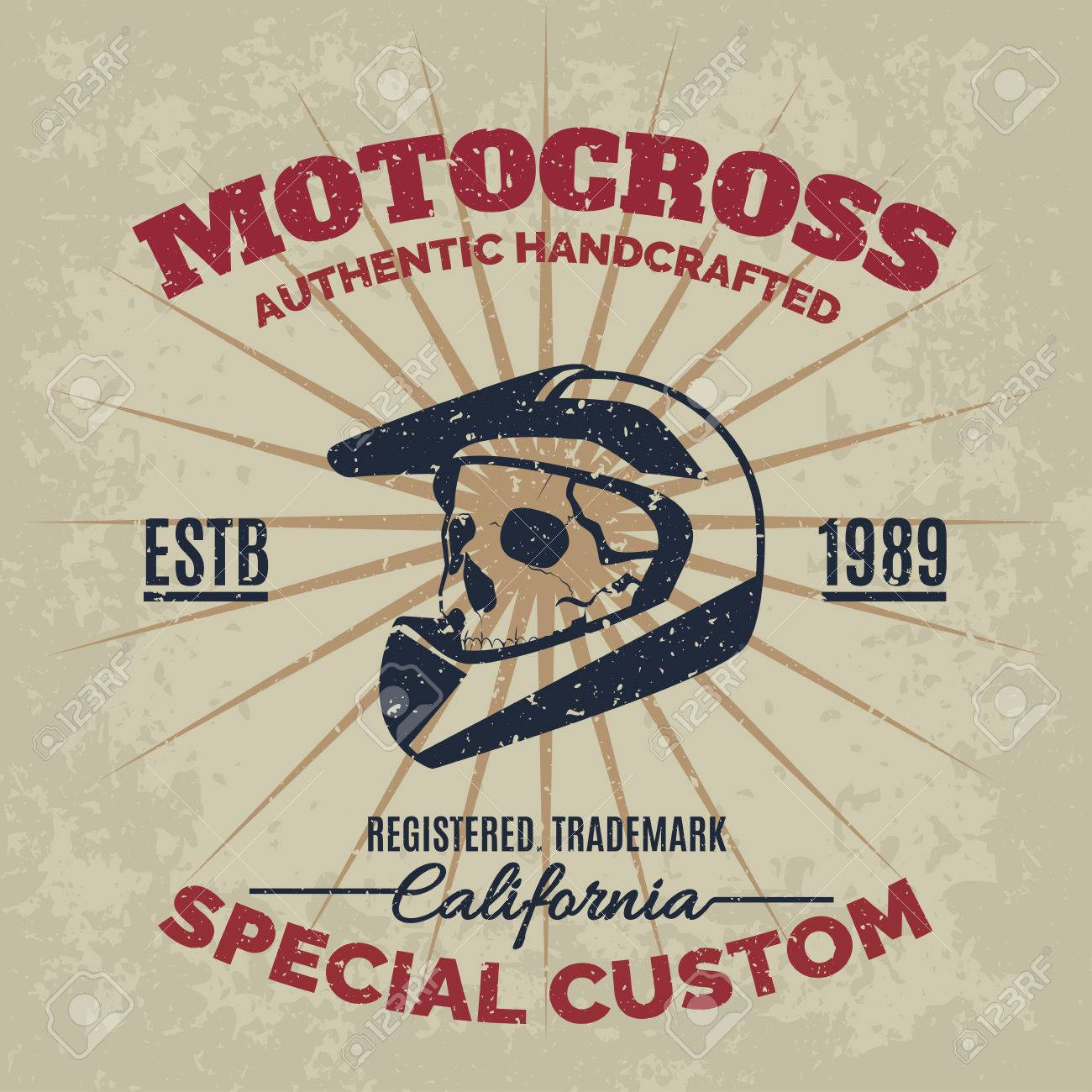 Design t shirt motocross - Vector Vintage Motocross Helmet With Skull For Printing With Grunge Texture Vector Old School Race Poster T Shirt Printing Design