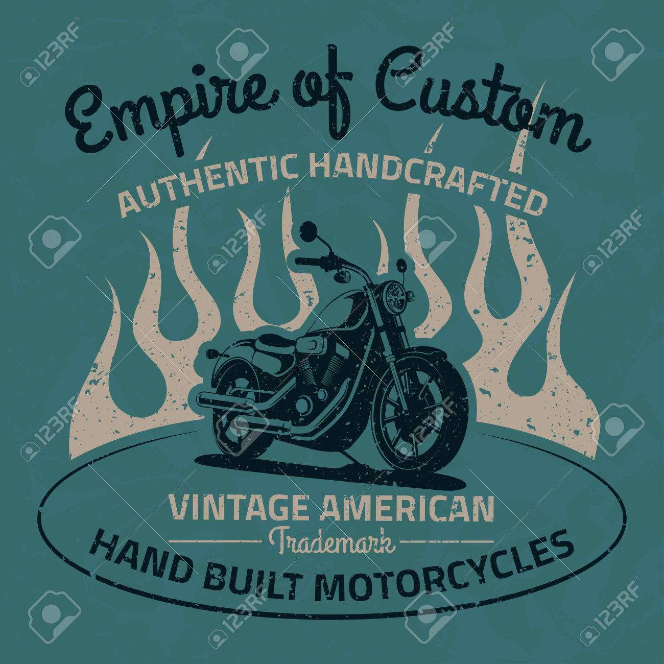 Vintage Motorcycle For Printing With Grunge Texture Old School