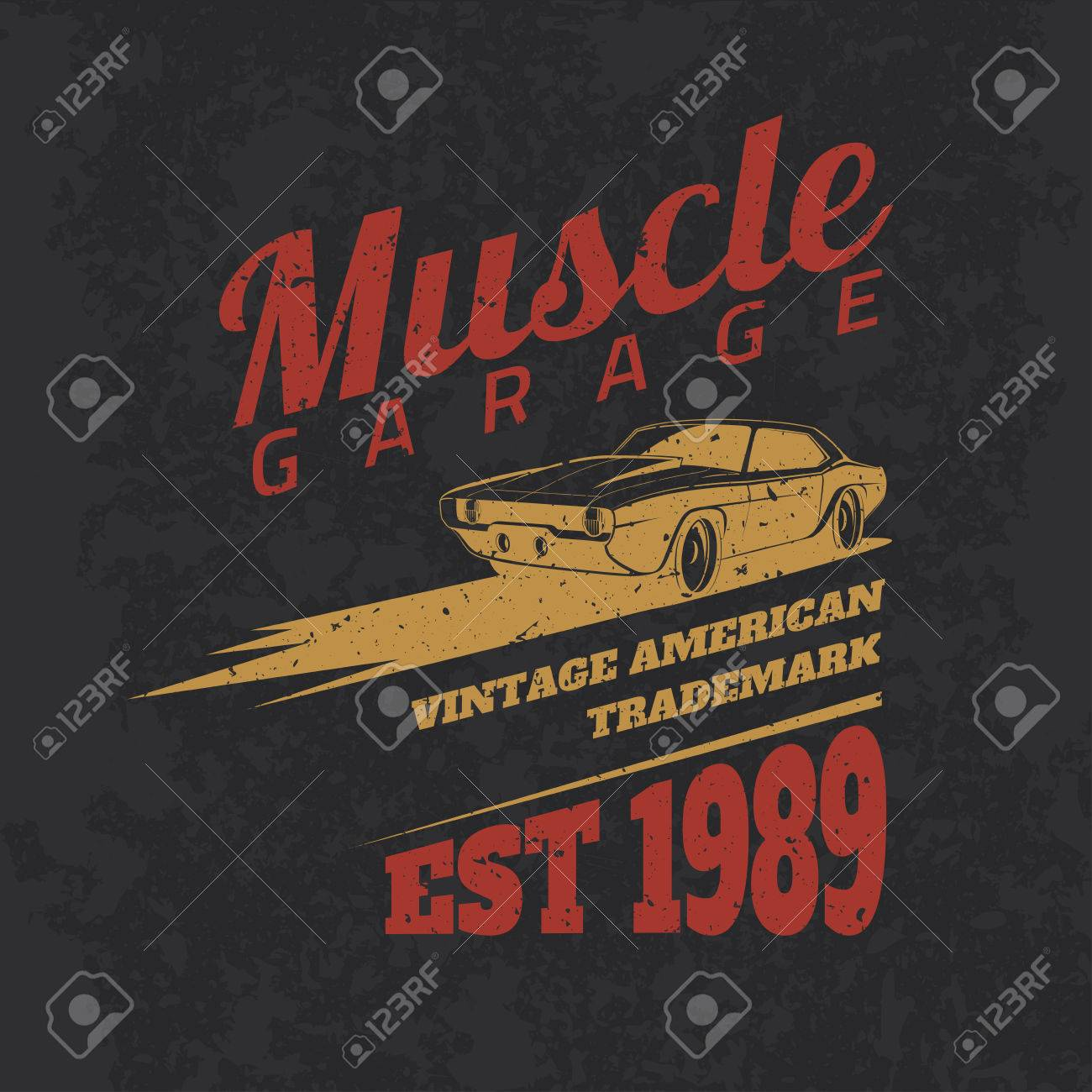d473280f Vector - Vintage american muscle car for printing with grunge texture.Vector  old school car race poster.T-shirt design.