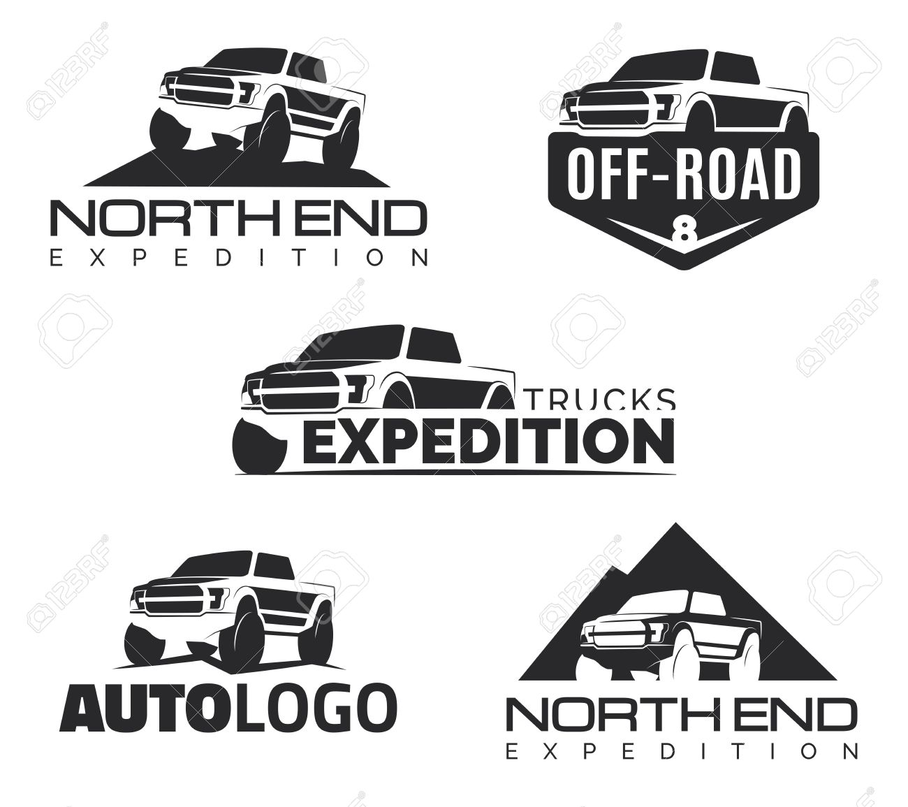 Set Of Modern Suv Pickup Emblems Icons Offroad Pickup Design