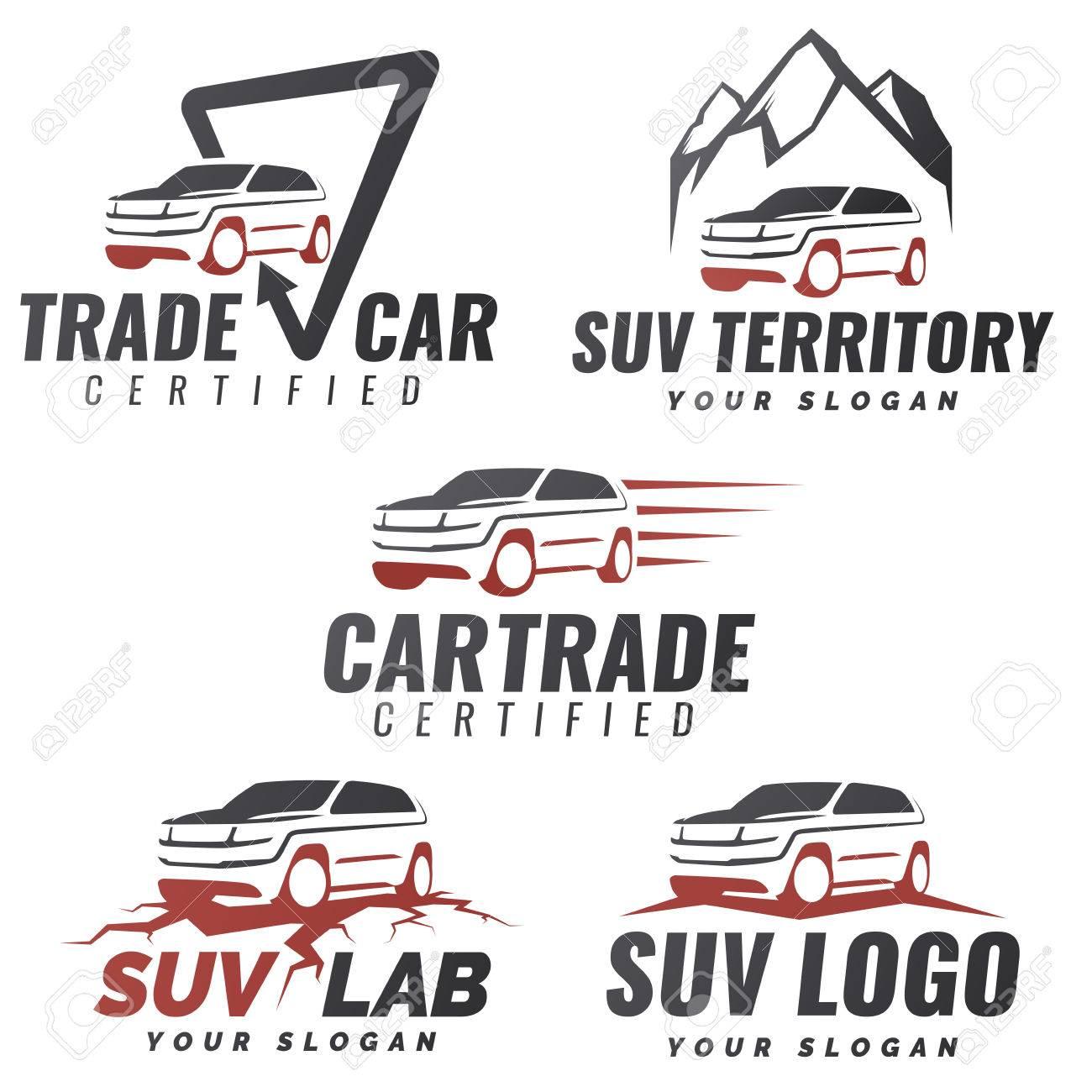 Conjunto De Plantillas De Servicio De Coche De SUV. Reparación De ...