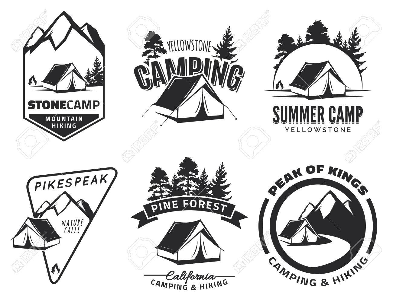 Set Of Vintage Camping And Outdoor Adventure Emblems Badges Tent In Forest Or