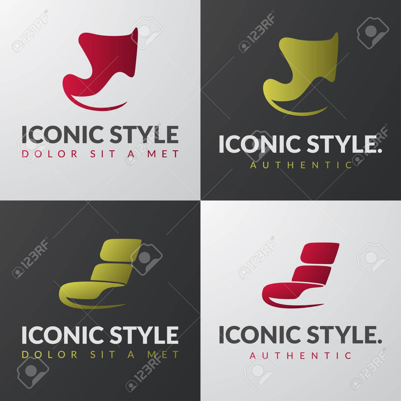 Set of furniture templates. Modern armchair design concepts. Lounge iconic chair sign. - 57606538