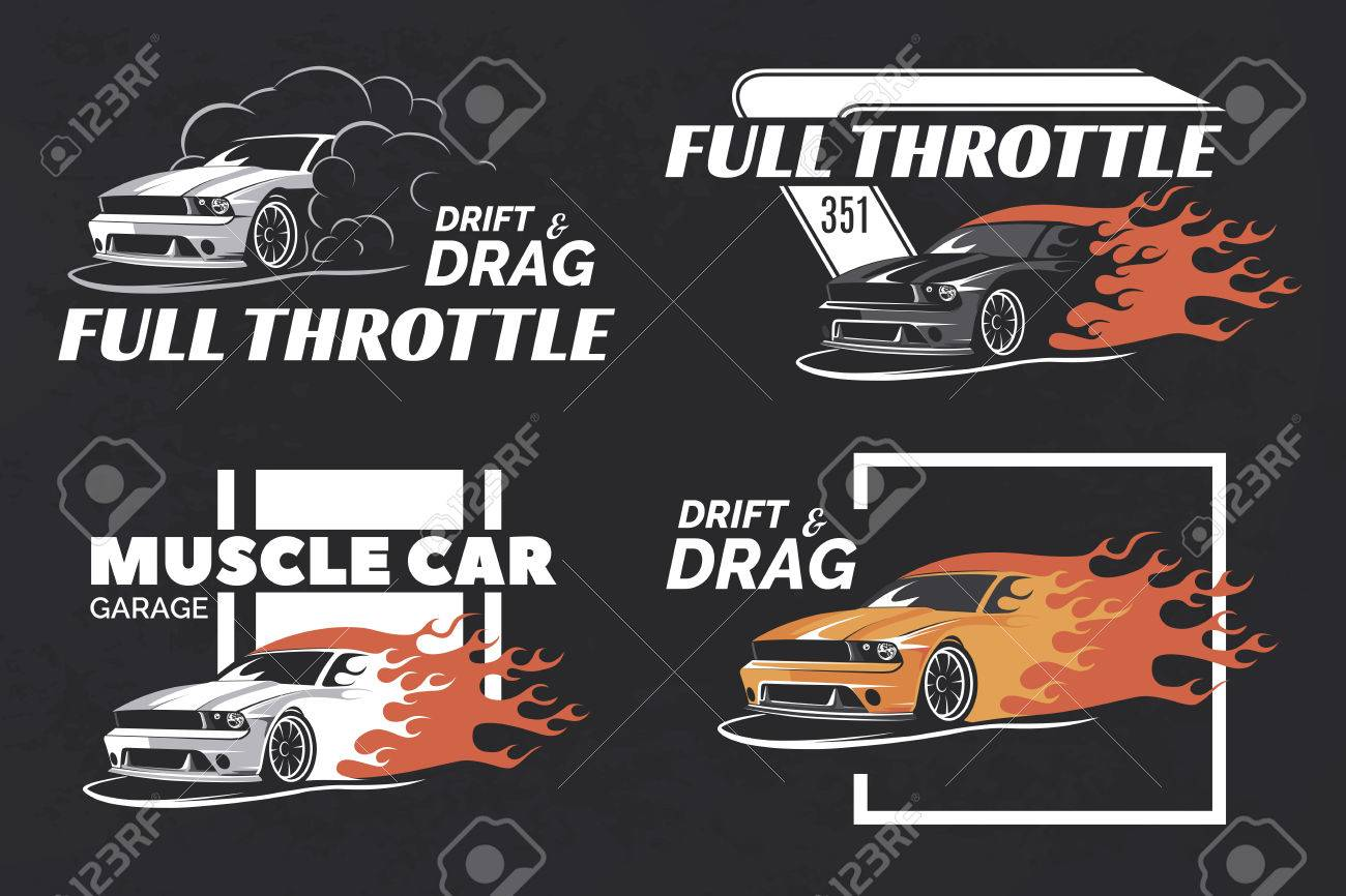Design car emblem - Set Of Muscle Badges And Emblems On Dark Grunge Background Service Car Repair
