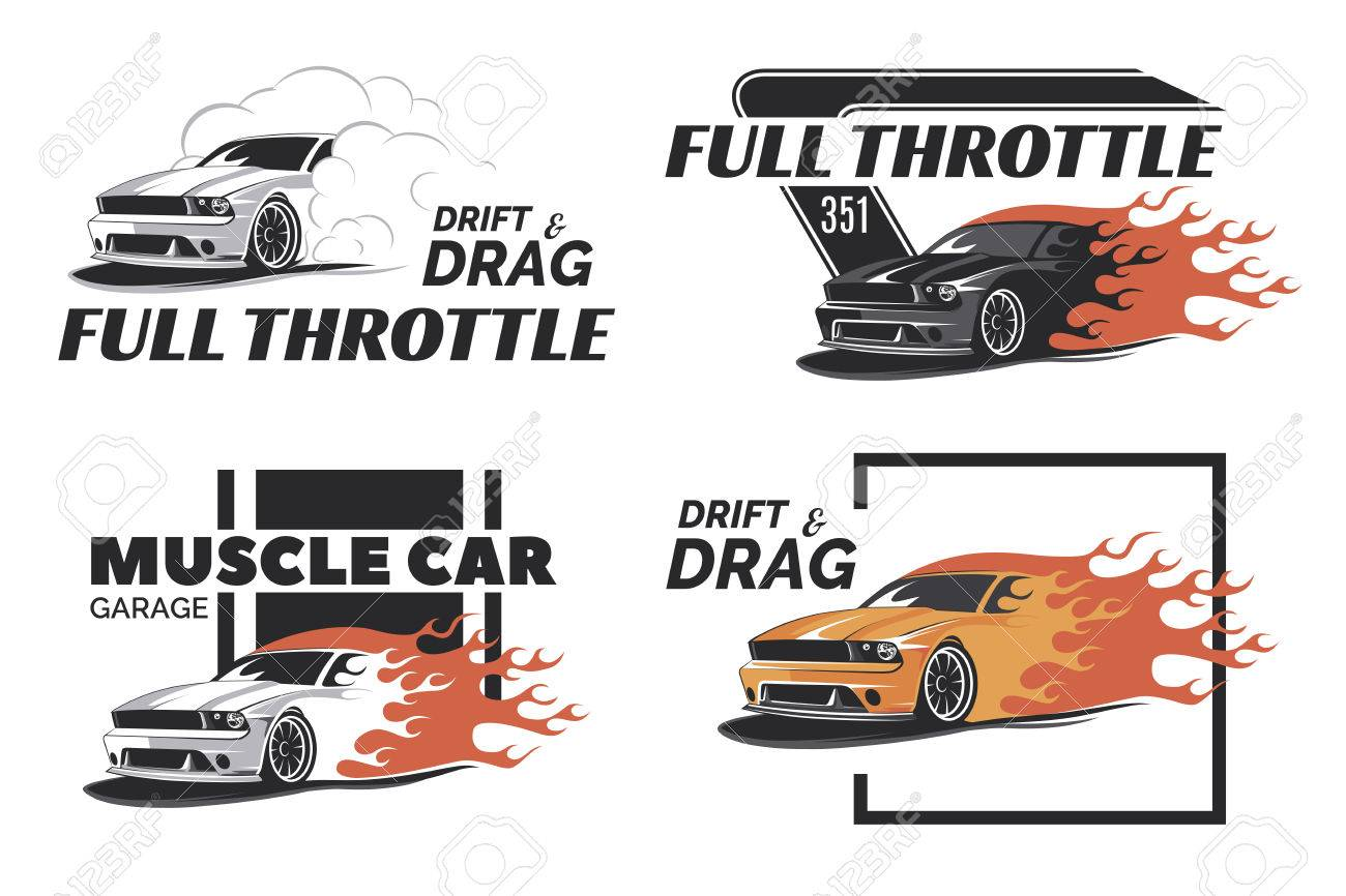 Set Of Muscle Badges And Emblems Isolated On White Background - Muscle car repair