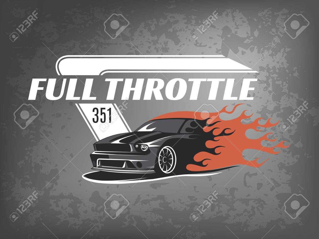 5265345f Muscle icon on dark grunge background. Service car repair, car restoration  and car club