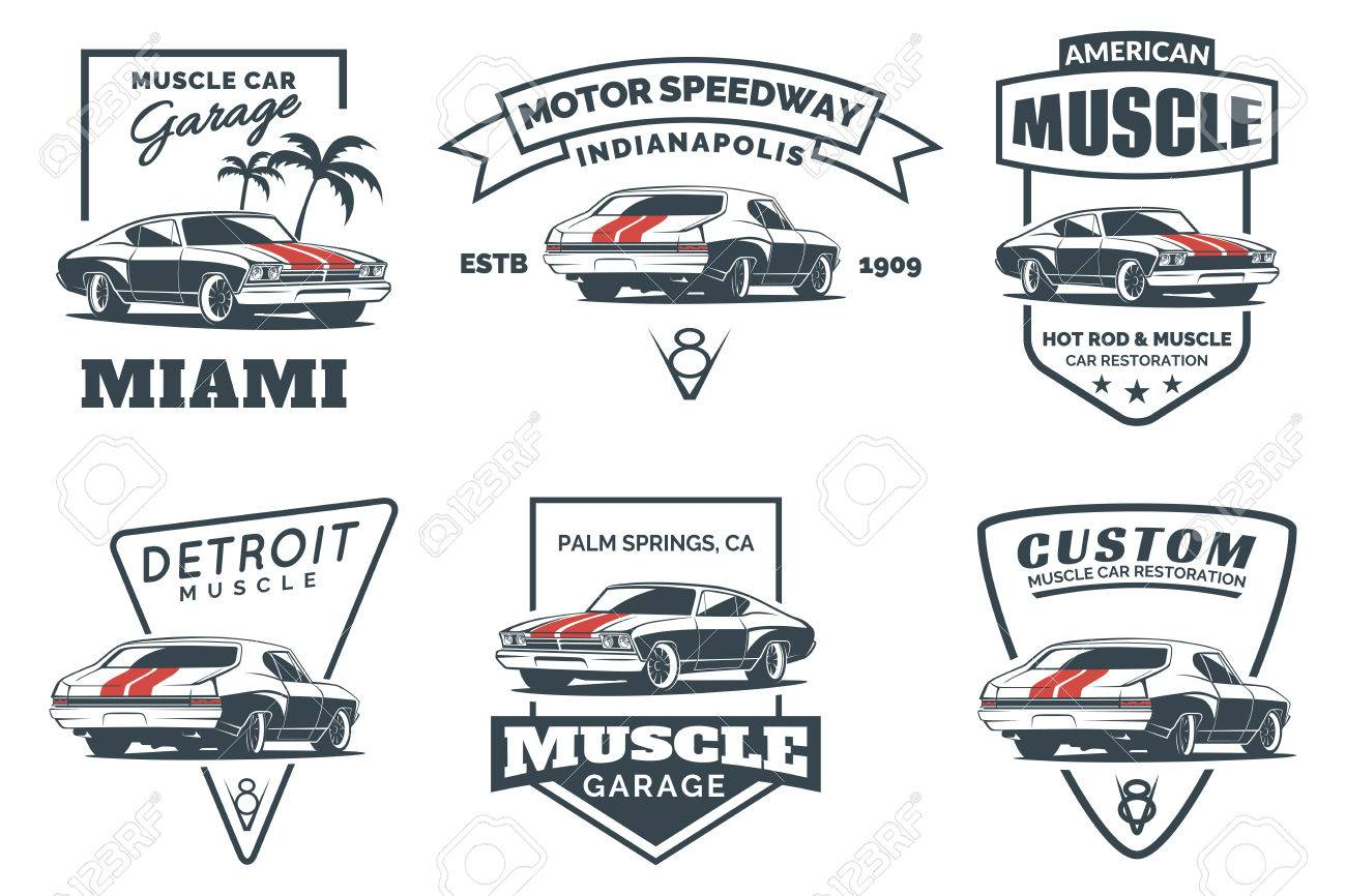 Set Of Classic Muscle Car Icon Emblems Badges And Icons Isolated - Muscle car repair