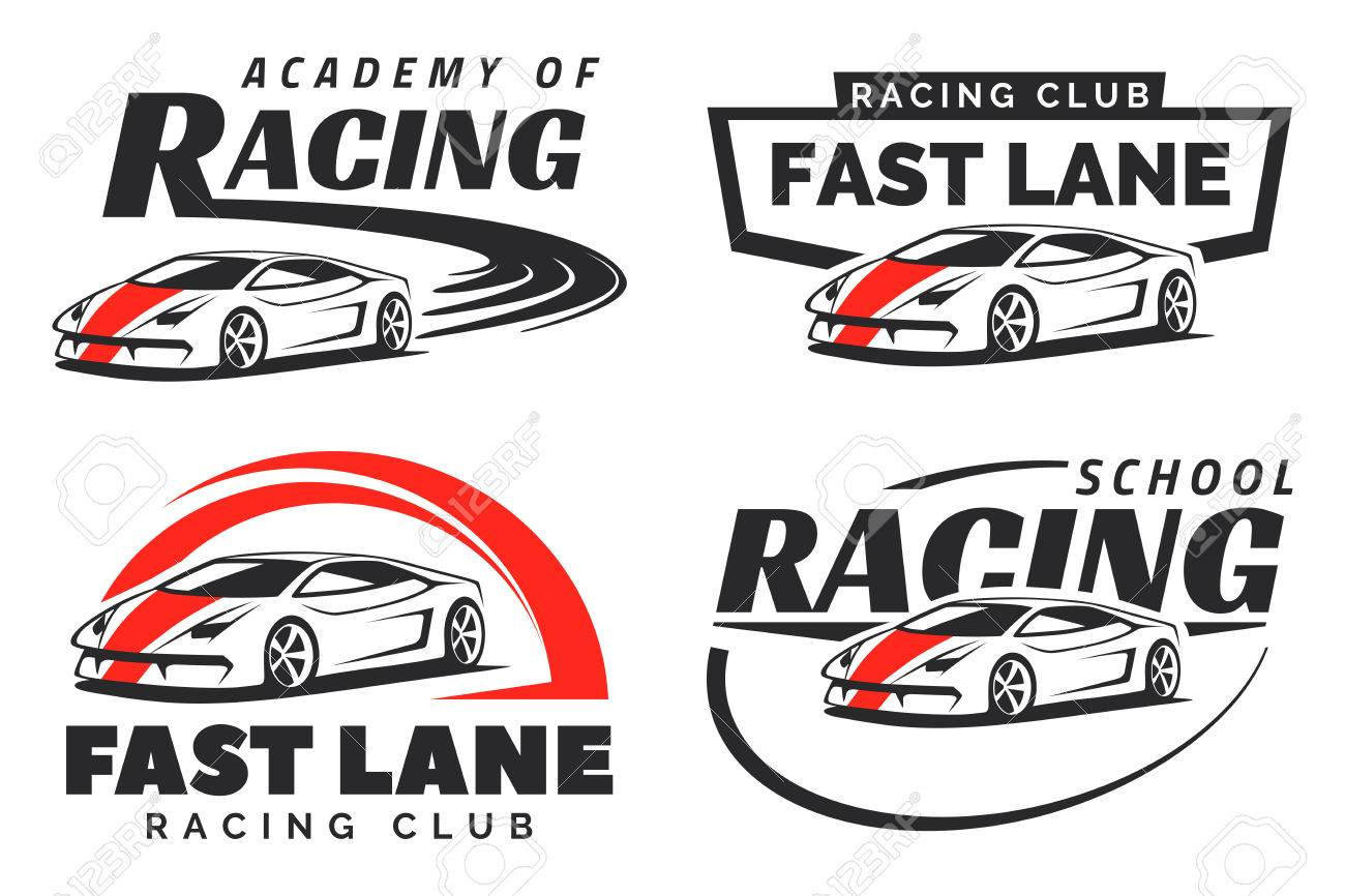Set Of Sport Car Racing Emblems And Badges Isolated On White
