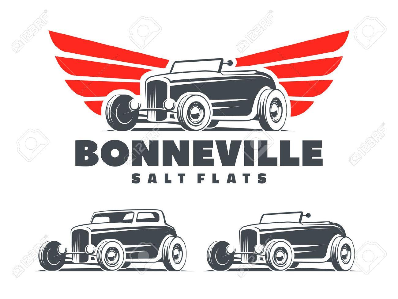 retro hot rod with stylized wings logo bonneville salt flats rh 123rf com hot rod clipart free download hot rod clipart free download