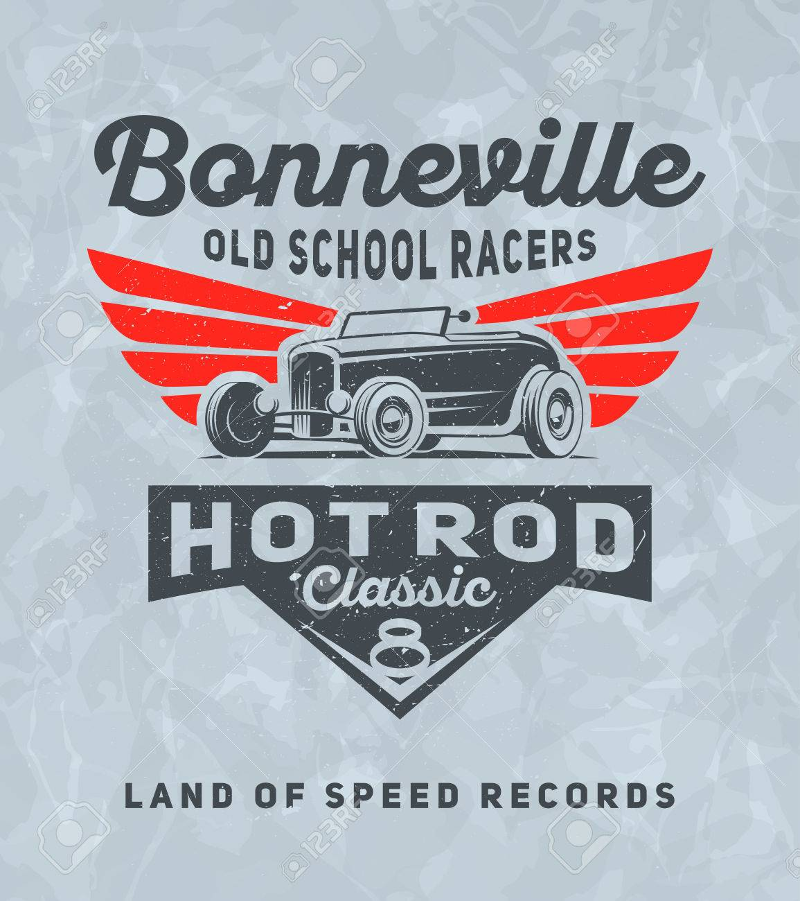 Vintage american hot rod car for printing with grunge texture. Vector old school Bonneville race poster. T-shirt printing design. Retro hot-rod car poster. - 69774087