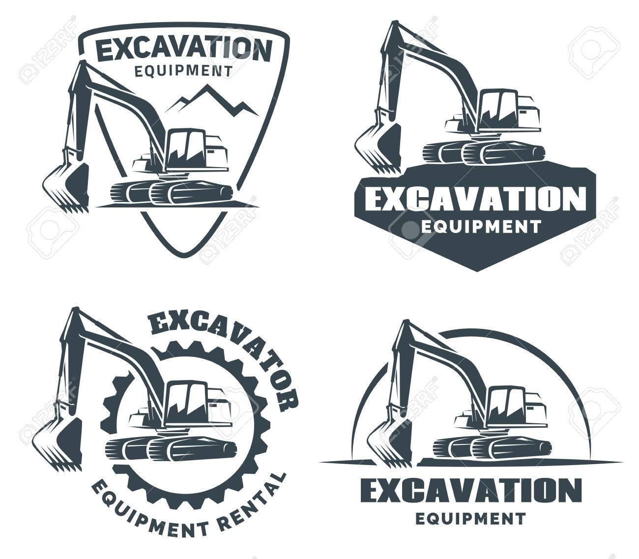 Excavator logo isolated on white background. - 69774092