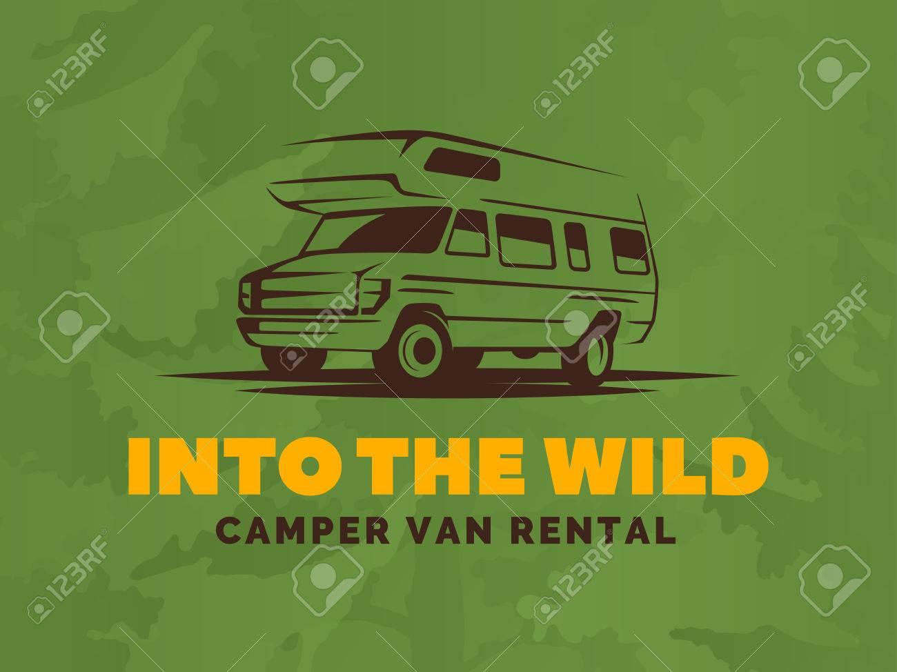 Camper Van Car Logo On Green Background Rv And Caravan Park