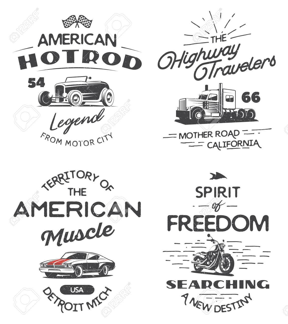 Set Of Typography Logo Of Muscle Car, Heavy Truck, Motorcycle ...
